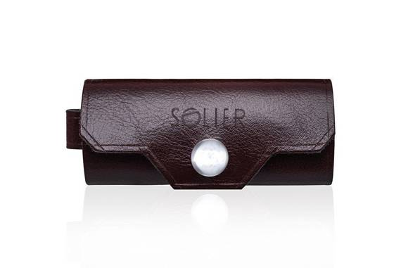Leather men's key holder SOLIER SA11 BROWN/MAROON